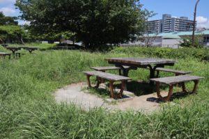 大島小松川公園のベンチ